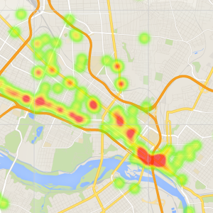 Heat map of Richmond's bar scene